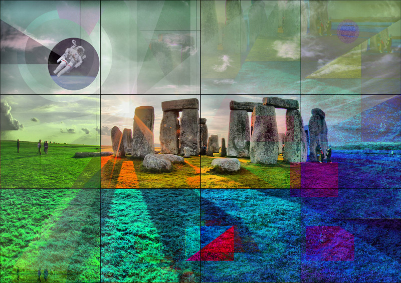 Stonehenge prehistoric monument with astronaut by PLATUX