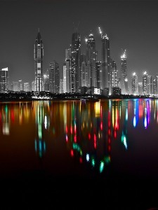 The Dubai Marina Skyline at Night