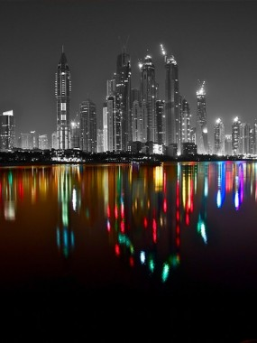 The Dubai Marina Skyline at Night