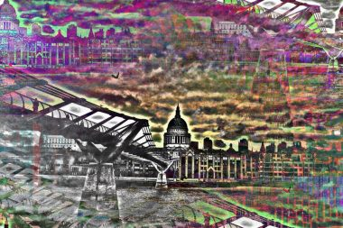 Millennium Bridge London Art PLATUX artwork River Thames Footbridge Bankside City of London School St Pauls Cathedral the Globe theatre Gallery Tate Modern Art