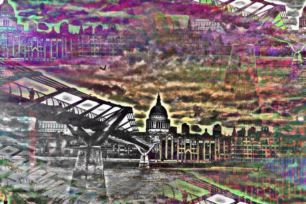 Millennium Bridge London Art PLATUX artwork River Thames Footbridge Bankside City of London School St Pauls Cathedral the Globe theatre Gallery Tate Modern Art