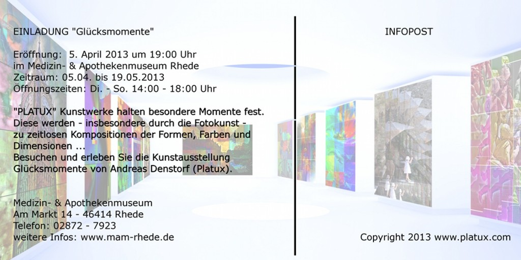 Glücksmomente PLATUX moderne Kunst Ausstellung Medizin- Apothekenmuseum Rhede 5 April 2013