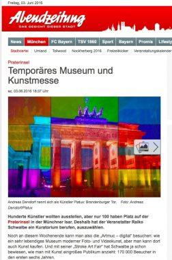 Abendzeitung München Kunst ART News Künstler PLATUX auf der ARTMUC Kunstmesse