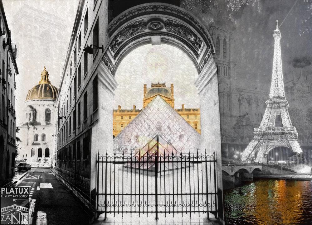 Glamour de Paris PLATUX Luxury Art Mother of Pearl Artwork Louvre Museum Art Shopping modern Art