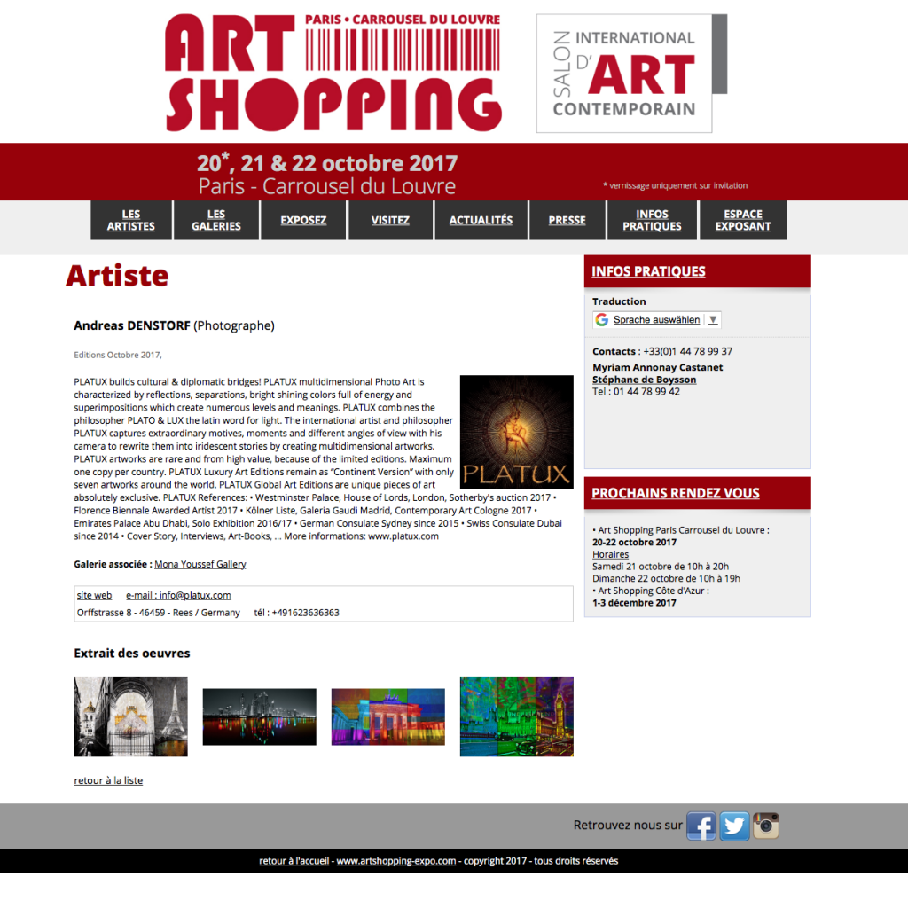Louvre Paris Art Shopping 2017 PLATUX Art Exhibition Photography Arte Photographe